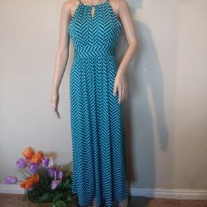 Navy and teal chevron stripe maxi dress